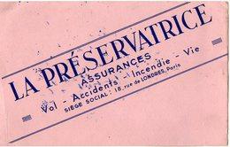 VP6282 - Buvard - LA PRESERVATRICE Assurances à Paris Rue De Londres - Bank & Insurance