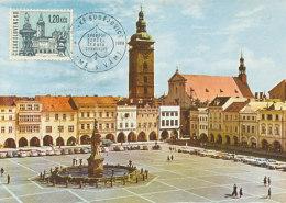 D26857 CARTE MAXIMUM CARD 1968 CZECHOSLOVAKIA - BUDEJOVIC SQUARE CP ORIGINAL - Architecture