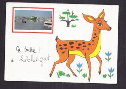 CPSM 29 - LECHIAGAT - Ca Biche ! à Léchiagat - Très Jolie Petite Photographie Du Port + TB Illustration De Biche - Autres Communes
