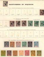 SAINT-PIERRE ET MIQUELON - Bonne Collection Neuve Entre 1892 Et 1963 TB - 17 Scans - Collections, Lots & Séries