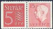 ZWEDEN 1957 15õre Rood Gustaf VII Adolf Type II Paar 5+15õre PF-MNH