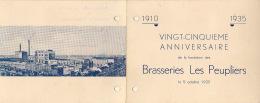 Menu Pour Le 25èm Anniversaire De La Brasserie Bière Les Peupliers Mortsel Vieux Dieu 5 Octobre 1935 - Menus