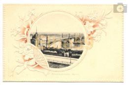 Mainz (Rheinland-Pfalz), AK, Strassenbrücke, Passepartout, Gauffré, Blumen, Ungebraucht - Bruggen