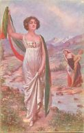 Italia Patriotica F. Soulacroix Signed Verso La Vittoria WW1 Patriotic Lady - Politicians & Soldiers