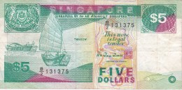 BILLETE DE SINGAPORE DE $5   (BANKNOTE) BARCO-SHIP - Singapur