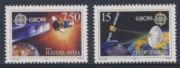 Jugoslavija Yugoslavia 1991 Mi 2476 /7 YT 2341 /2 ** Satellite, Earth + Dish Aerial Reflecting Rays / Fernmeldesatellit - Ongebruikt