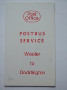 POST OFFICE POSTBUS TIMETABLE `Wooler To Doddington` - Europa