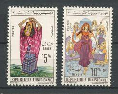 TUNISIE 1962 N° 553 Et 554 ** Neufs  MNH  Superbes Cote 2 € Costumes Régionaux Gabès Hahdia - Tunisie (1956-...)