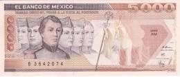 BILLETE DE MEXICO DE 5000 PESOS AÑO 1989 SIN CIRCULAR-UNCIRCULATED (BANKNOTE) - México