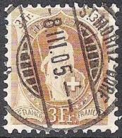 14 Vertikalzähne KZ II 1901: Zu 72E Mi 64YD Yv 77 - 3 Fr Braun Mit Voll-o ST.MORITZ 8.III.05 (Zu CHF 30.00) - 1882-1906 Armoiries, Helvetia Debout & UPU