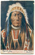 CARTOLINA INDIANI AMERICA SIOUX INDIAN CHIEF WITH BUFFALO BILL'S WILD WEST NATIVE AMERICAN VIAGGIATA ANNO 1910 - Indiani Dell'America Del Nord