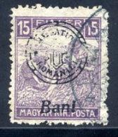 TRANSYLVANIA 1919 Type II Overprint On Harvesters 15f With White Numerals, Used.  Michel 31 II - Transylvania