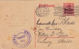 Carte Entier Postal Brussel Deutsches Reich >> Suisse 1916