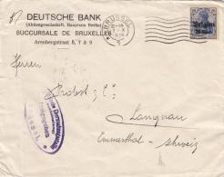Lettre Brussel Deutsches Reich >> Suisse Emmental 1918