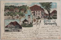 Gruss Aus Dürrenroth - Kehr, Kirche, Gerbehof, Hotel Kreuz - Farbige Litho - Stempel: Huttwil - BE Berne