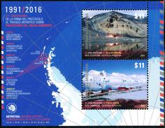 Argentina - Hoja Bloc 25º Aniversario Tratado Antartico X 10  (año 2016) - Argentina