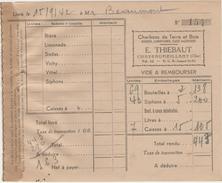 Facture (1942) - Charbons De Terre & De Bois - Bière Et Limonade - E. THIEBAUT Chateaumeillant (Cher) - France