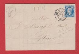 Lettre / De Paris  / Pour Nice / 19 Août 1865 - Postmark Collection (Covers)