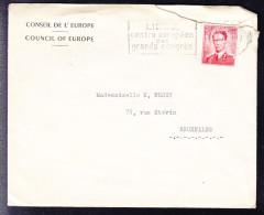 COB 925 Seul Sur Lettre DU CONSEIL DE L´EUROPE, (lettre Déchirée)  . (6AL331) - 1953-1972 Glasses