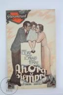 Old 1934 Cinema/ Movie Advtg Brochure - Actors: Gary Cooper, Carole Lombard & Shirley Temple - Movie: Now And Foreve - Publicité Cinématographique