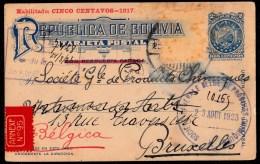 RARE LOOK ! BOLIVIA 2 Centavos Overprint Cinco Centavos - 1917 - Sent 1923 From La Paz > Bruxelles - Bolivie