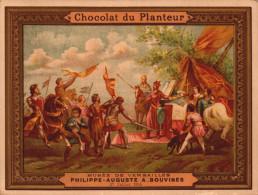 Chromos Chocolat Du Planteur -  Philippe Auguste A Bouvines - Musee De Versailles - R/V - Chocolat