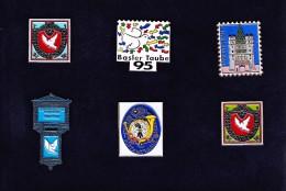 Set 6 Pins Motiv Briefmarken Basel Taube Spalentor Postamt - Pin's & Anstecknadeln