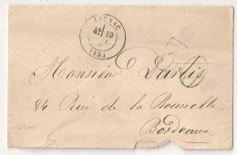 Enveloppe JARNAC Charente Pour Bordeaux. TAXE 30. - Marcophilie (Lettres)