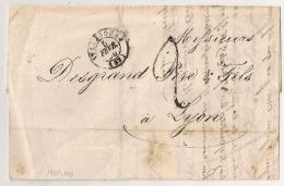 LAC STRASBOURG Bas Rhin TAXE TAMPON 2 Pour LYON. 1850 - Marcophilie (Lettres)