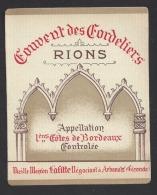 Etiquette De Vin Premières Côtes De Bordeaux -Couvent Des Cordeliers à Rions (33) - Lafitte à Arbanats- Thème Religion - Religions