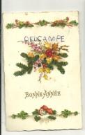 Bonne Année. Guirlande De Fleurs, Sapins, Trèfles, Houx. Champignons. AMAG 2381 - Nouvel An