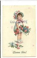Bonne Fête. Petite Fille, Fleurs, Lettre - Fête Des Mères
