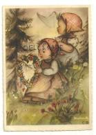 Deux Petites Filles, Couronne De Fleurs En Forme De Coeur, Coquelicots. Signée Bukac. BUDIV 1022 - Illustrateurs & Photographes