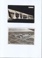 BRAZIL - BRASILIA - AIR VIEW And ALVORADA PALACE - REAL PHOTOS - TWO OLD B&W POSTCARDS - Brasilia