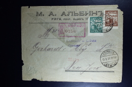 LETTLAND Latvia 1919 Registered Cover LEEPAUA To New York,  Mi 26+27  Fragile