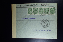 Finland:  Cover 1915 From Tampere To Copenhagen Censored 3 Language Strip - Covers & Documents
