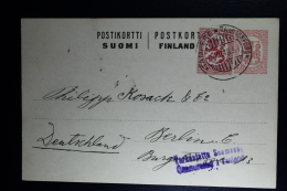 Finnish Liberation War : Card 5-12-1918 Tampere Russian Removed !!, Censor Cancel 3 Lines Tarkastettu Suomesse To Berlin - Finlandia
