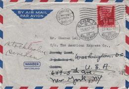 Lettre Bern Pour Bombay >> Washington >> New-York & Stockholm 1952