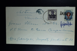 German Cover 1918 Dorpat Estland To Mitau Kurland Mixed Franking Double Censorred Dorpat+ Riga