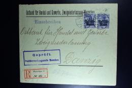 German Registered Cover 1915 Warschau To Danzig  Censor Cancel Warschau. Pair Mi Nr 4