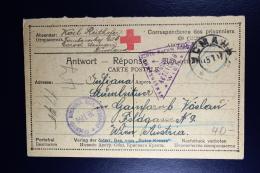 Russia 1917 Prisoner Of War Answer Card  / Service Des Prisonniers De Geurre  Russian Censor