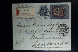 Russia Registered Cover 1915 Odessa To London Russian Mil. Censor Opened Rare Censor Cancel + Signed In Red