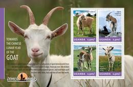 UGANDA SHEET. DOMESTIC ANIMALS. GOAT. CABRA. LA CHÈVRE. 2014. PERFORADO NUEVO. - Uganda (1962-...)