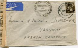 AFRIQUE DU SUD LETTRE PAR AVION CENSUREE DEPART HERMANUS 27 MAY 44 POUR LE CAMEROUN FRANCAIS - Storia Postale