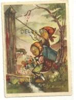 Deux Petites Filles Qui Arrosent Un Bouquet De Fleurs à Une Fontaine. Signée Bukac. BUDIV 1029 - Autres Illustrateurs