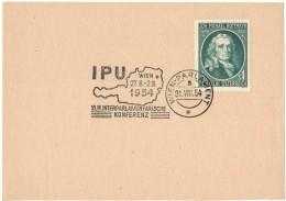 JP61     IPU - Kongress Wien Parlament 1954 - Affrancature Meccaniche Rosse (EMA)