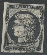 Lot N°32675   Variété/n°3, Oblit Grille De 1849, Trait Blanc Entre O Et S De POSTES, Filet Coin NORD OUEST ET SUD OUEST - 1849-1850 Cérès