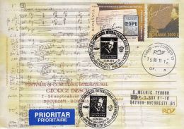 MUSIC, GEORGE ENESCU, COMPOSER, PARTITURE, COVER STATIONERY, ENTIER POSTAL, 2011, ROMANIA - Musique