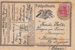 Feldpofkarte Deutsches Reich Marburg Pour La Suisse 1917 Guerre War