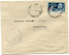 A. E. F. FRANCE LIBRE LETTRE CENSUREE DEPART LIGNE POINTE-NOIRE A BRAZZAVILLE 16 JAN 1943 A.E.F. POUR L'A.E.F. - Brieven En Documenten